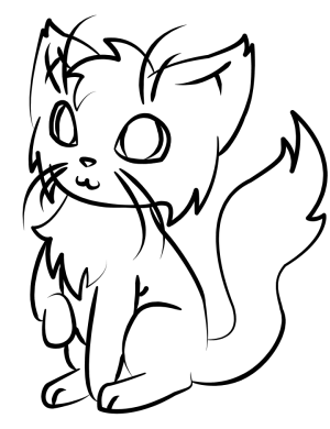 cat simple face line drawing cats coloring drawings clipart chat clip popular
