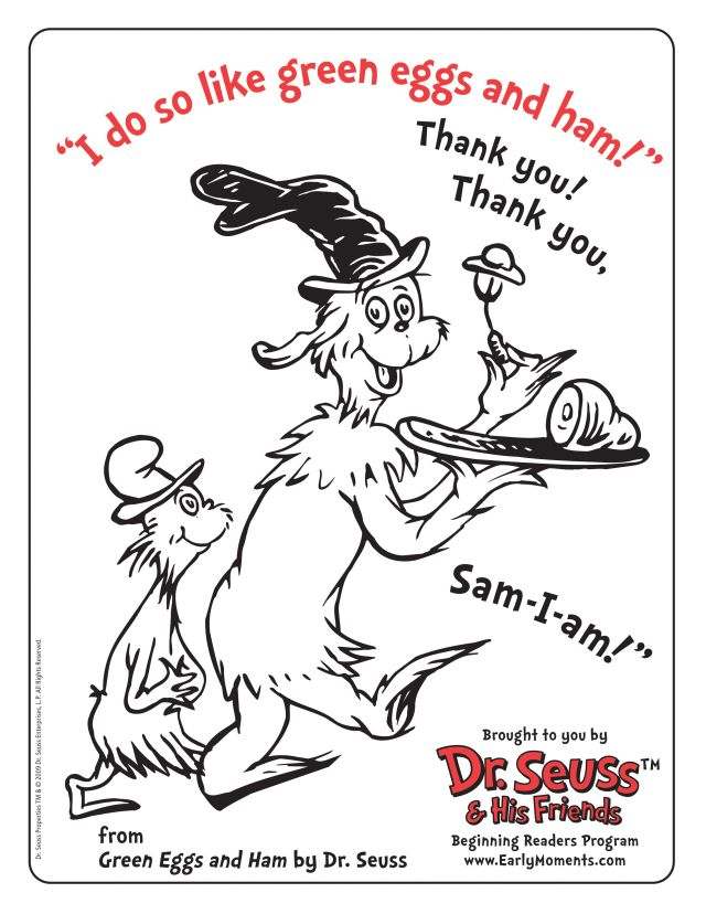 Dr Seuss Coloring Page Green Eggs And Ham - Coloring Home