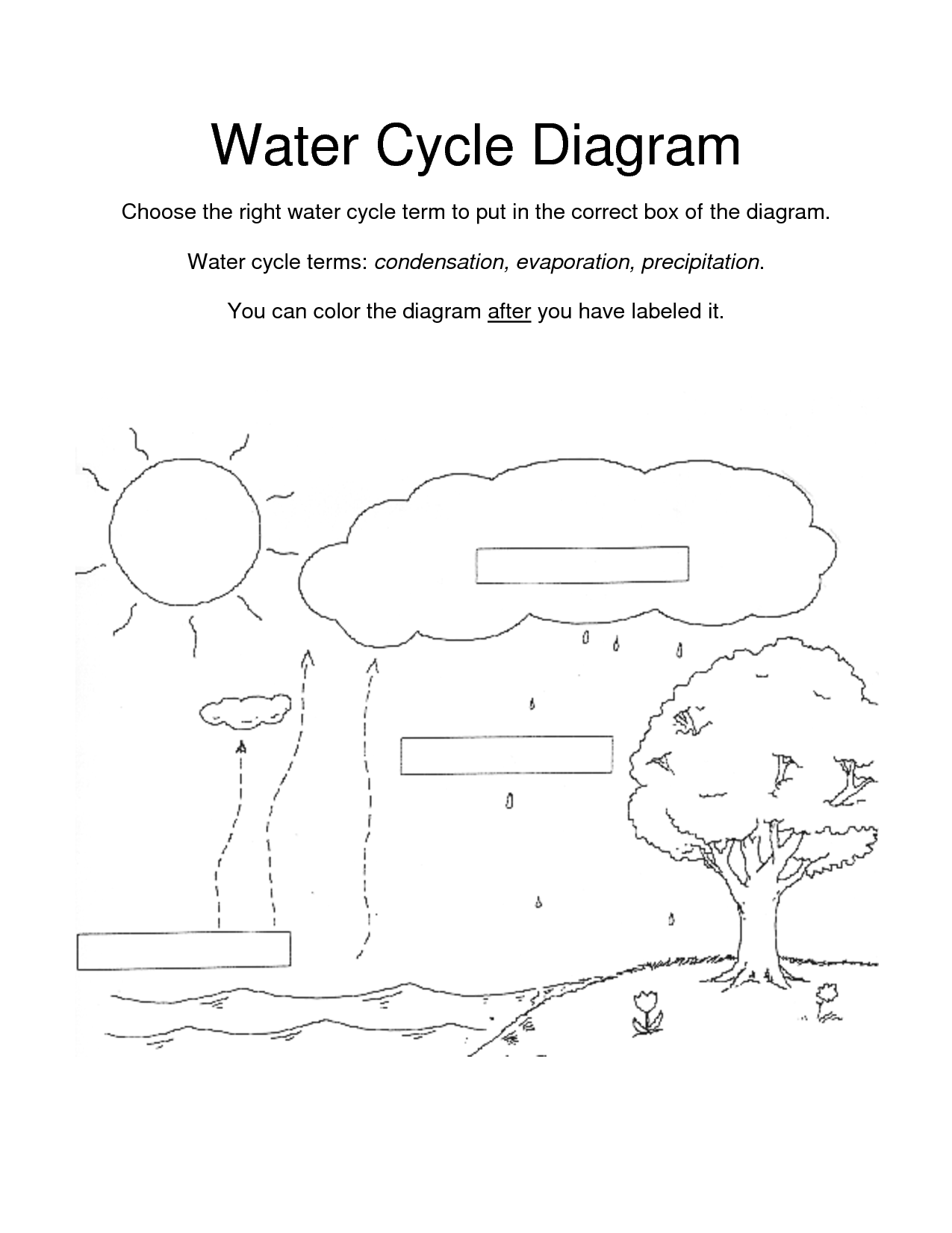 water cycle diagram worksheet blank stihl ms250 chainsaw parts for kids coloring page - home
