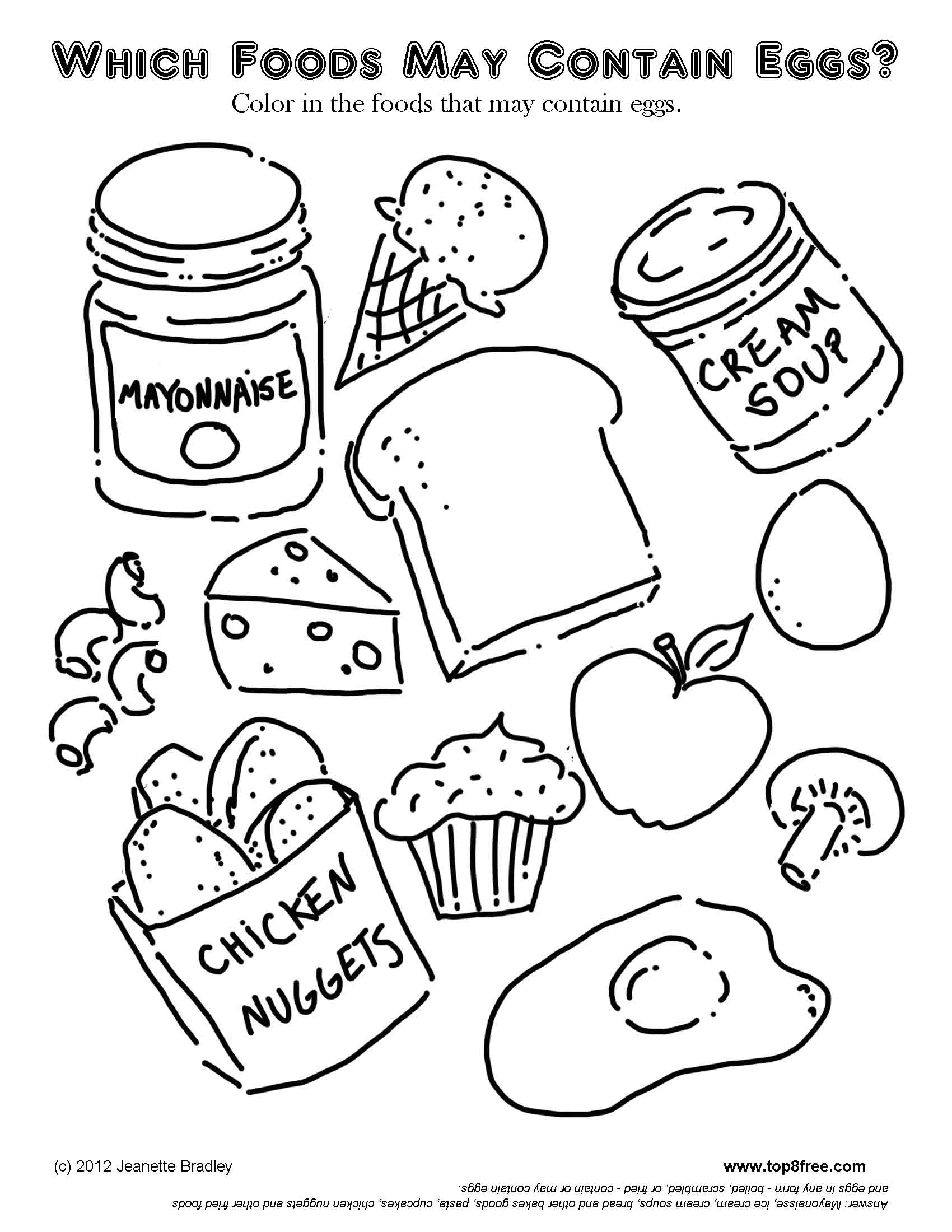 Food Containing Eggs Worksheet