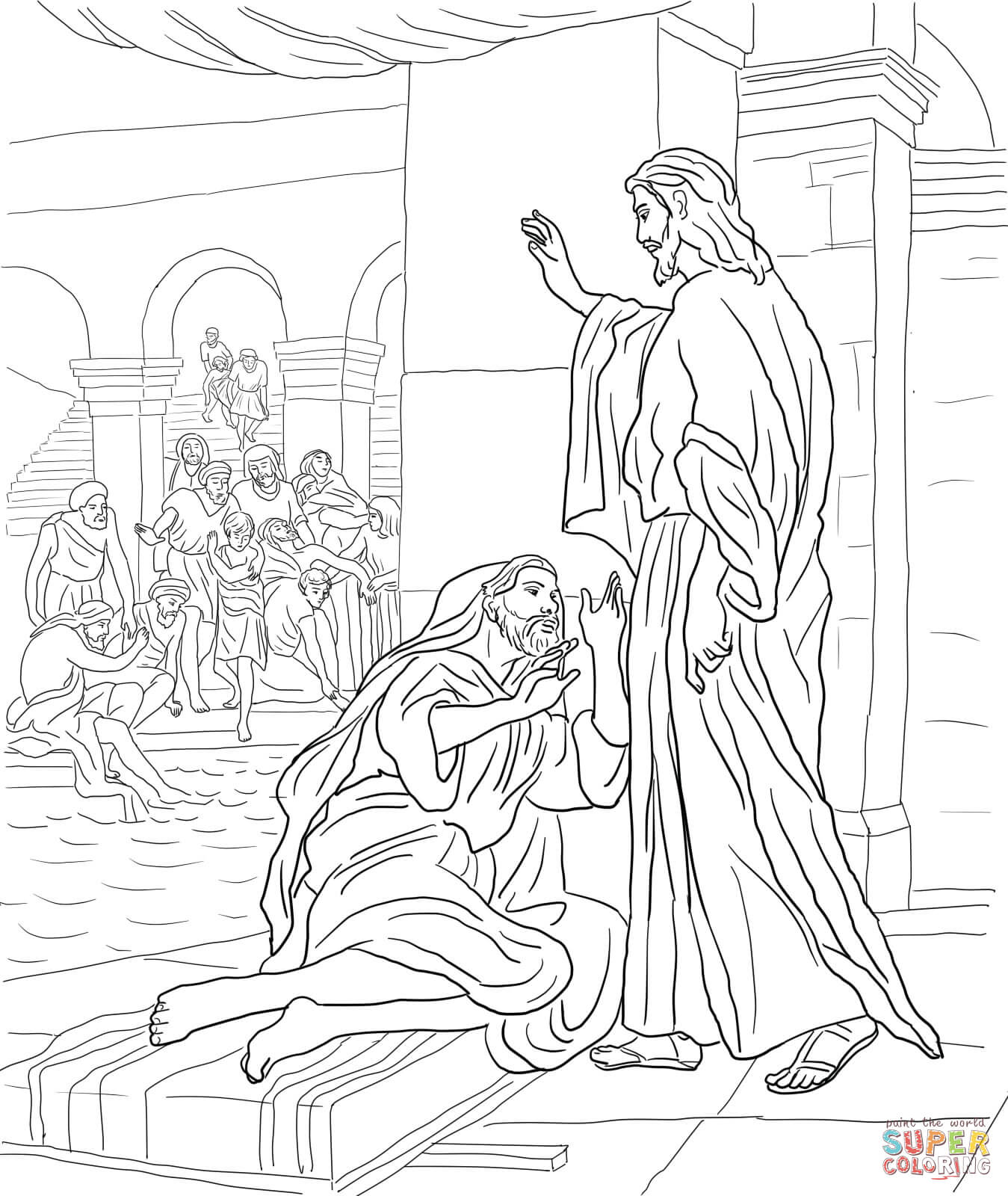 Paul Heals A Lame Man Page Coloring Pages