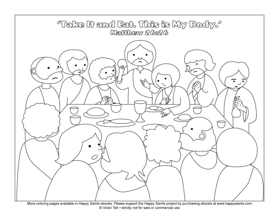 The Last Supper Coloring Page - Futpal.com - Coloring Home