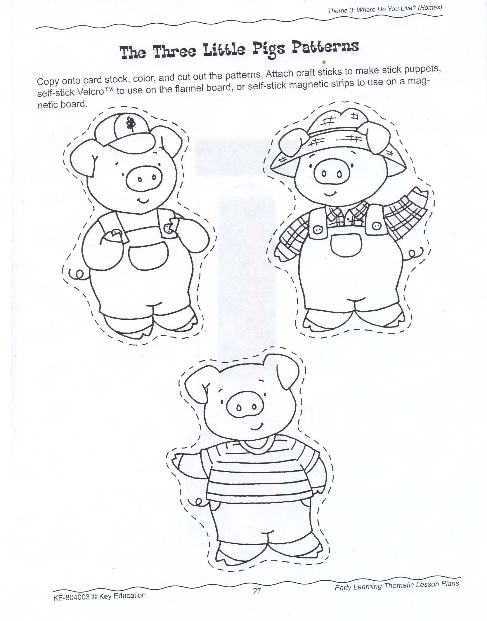 The Three Little Pigs Story Coloring Pages