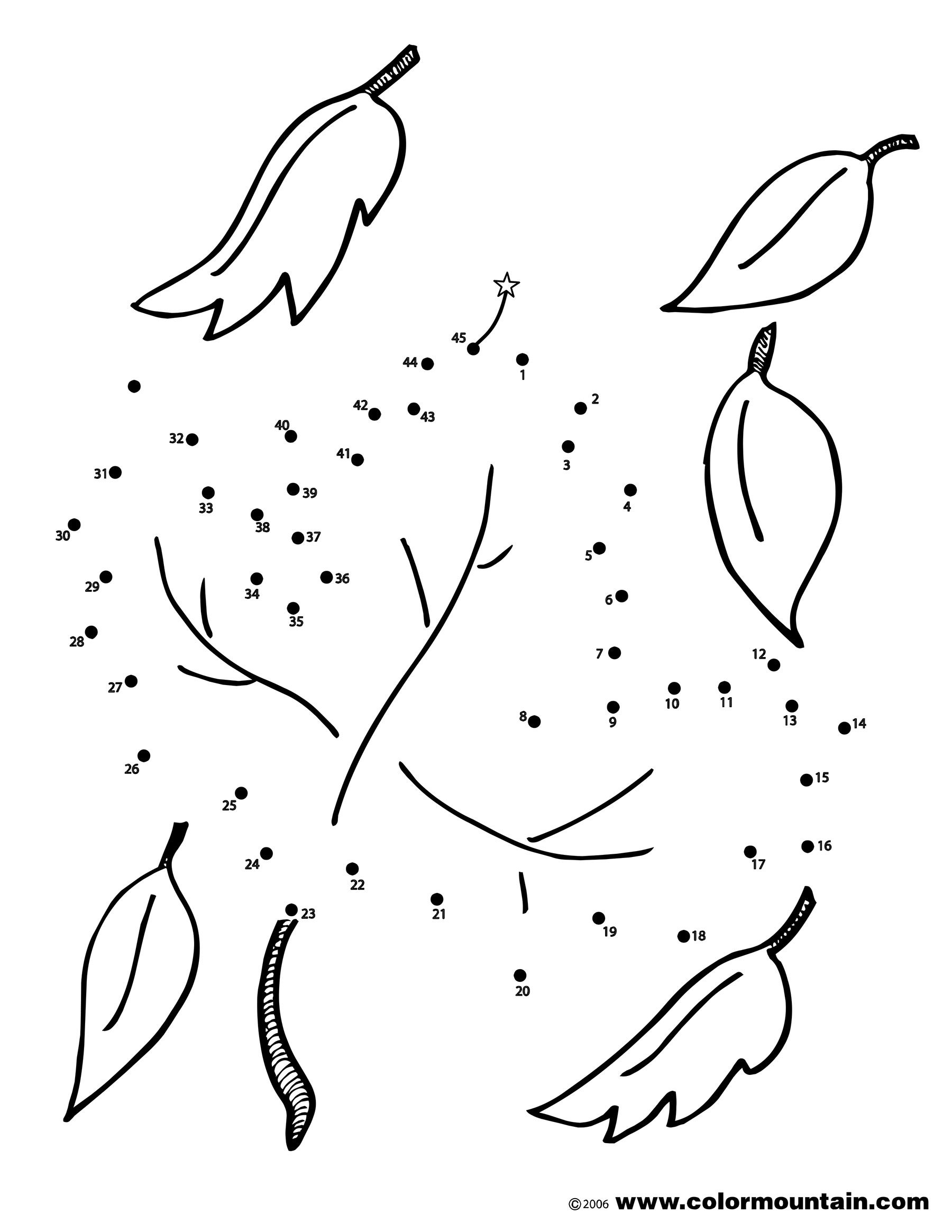 Dot To Dot Leaf Coloring Sheet