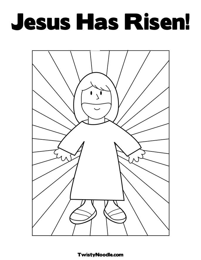 Kids Jesus Risen With Holes In Hands Coloring Pages