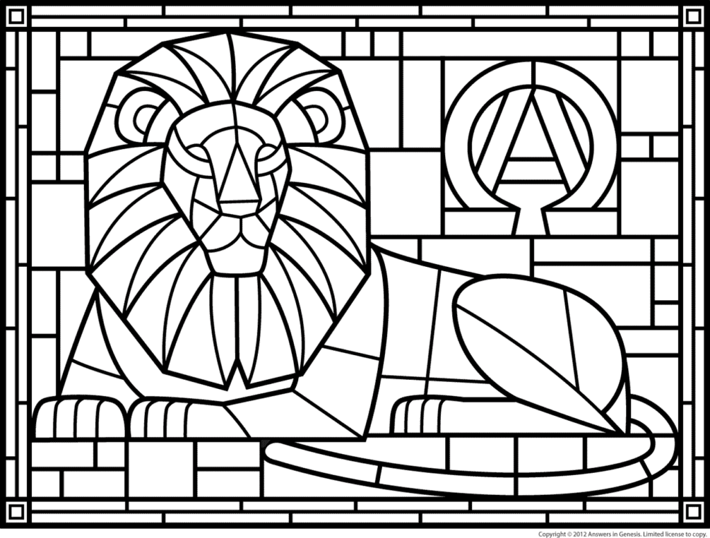 Wolf Stained Glass Pattern Sketch Coloring Page