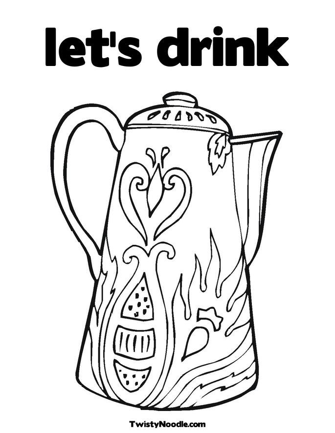 coloring page drinking water  coloring home