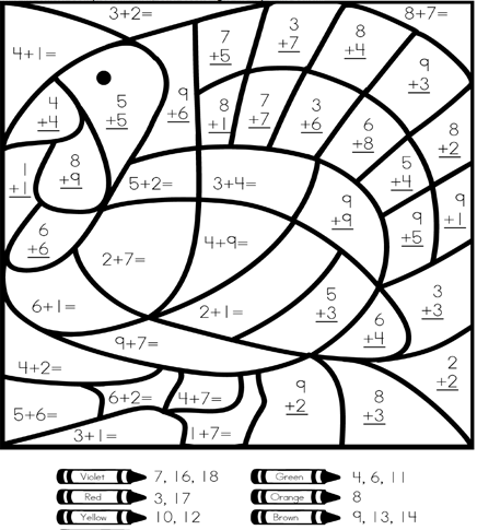 2nd Grade Math Color By Number Coloring Pages. Math Hard
