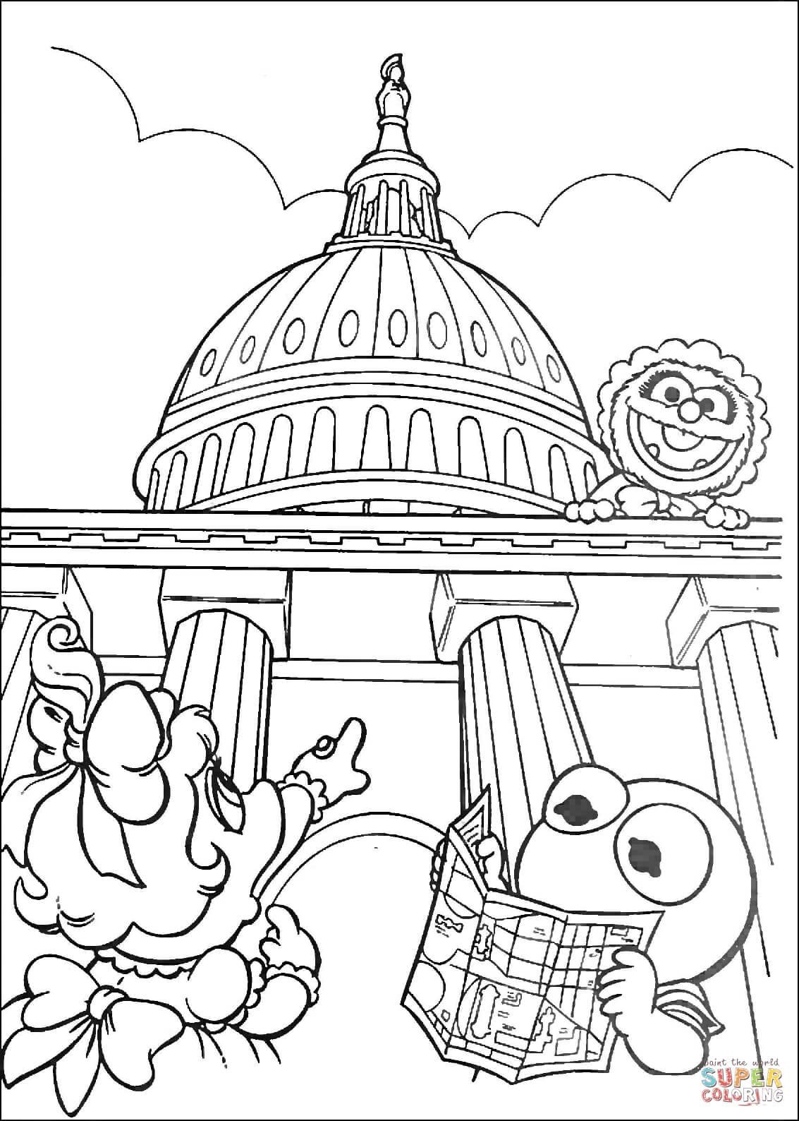 Washington Dc Coloring Pages : washington, coloring, pages, Muppet, Babies, Washington, Coloring, Printable