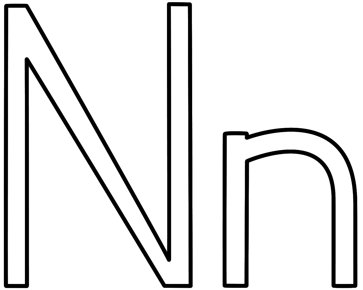 hight resolution of letter n coloring page alphabet