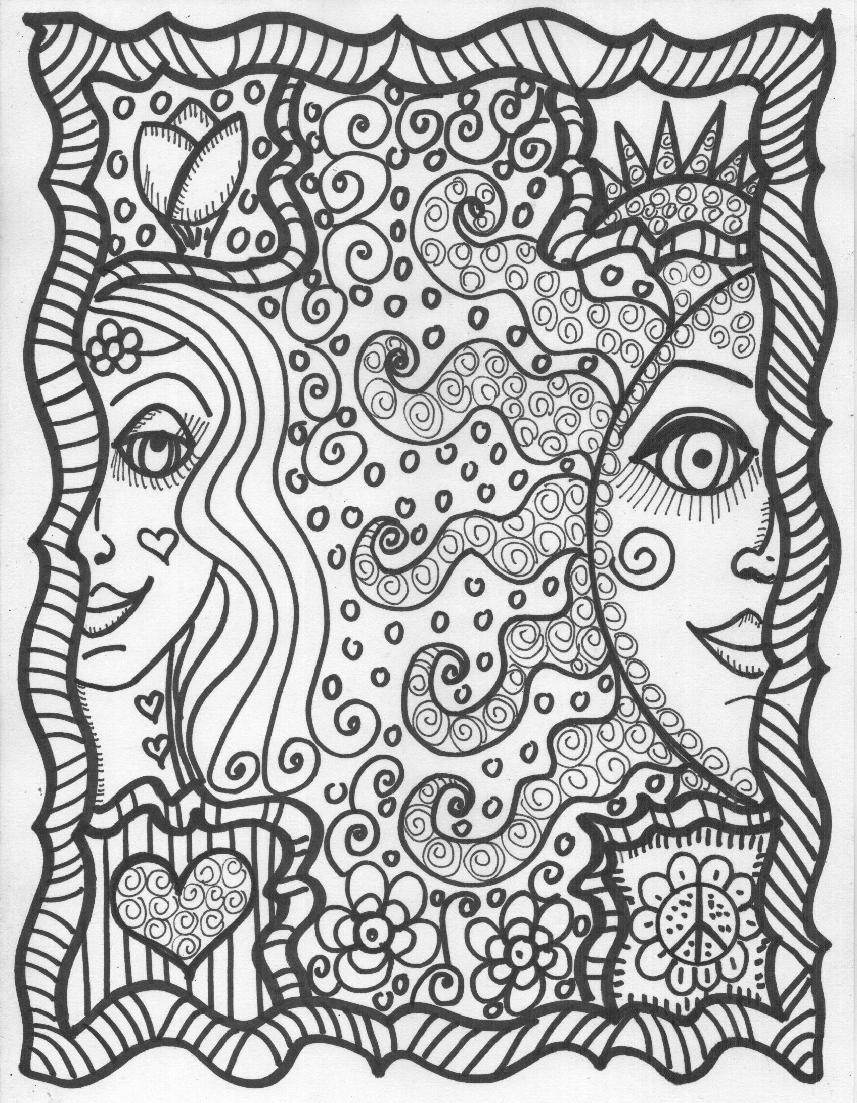 Cool Hippie Coloring Pages - Coloring Home   coloring pages for adults cool