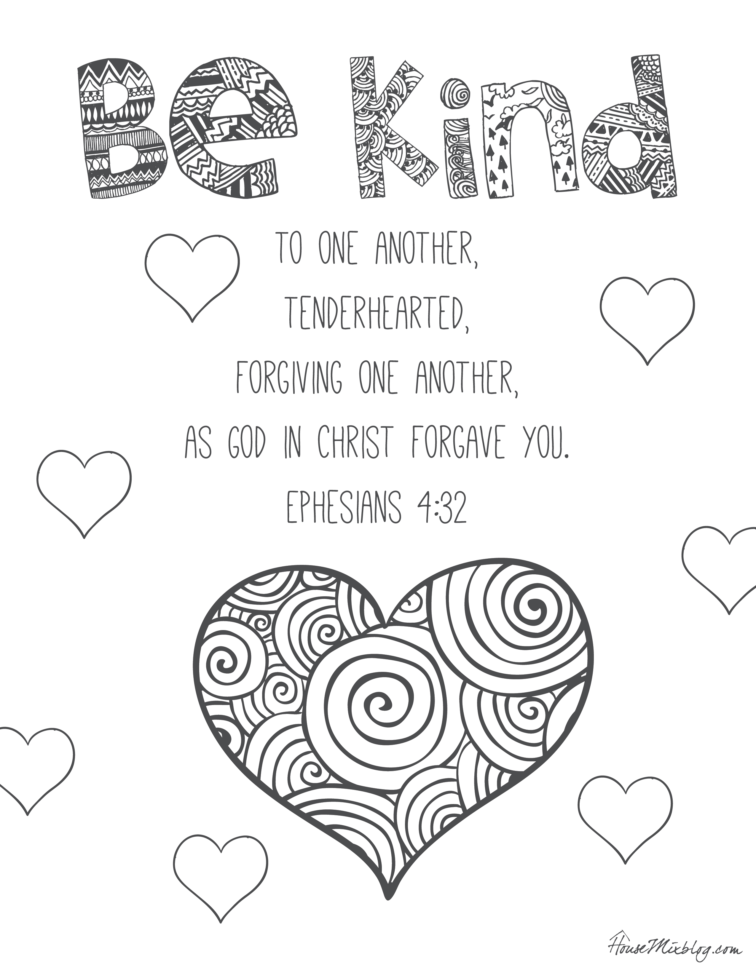 Be Kind Coloring Pages