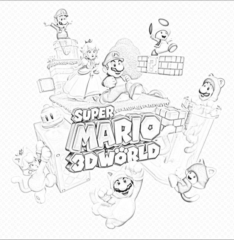 Kleurplaat Super Mario 3d Land Coloriage Mario