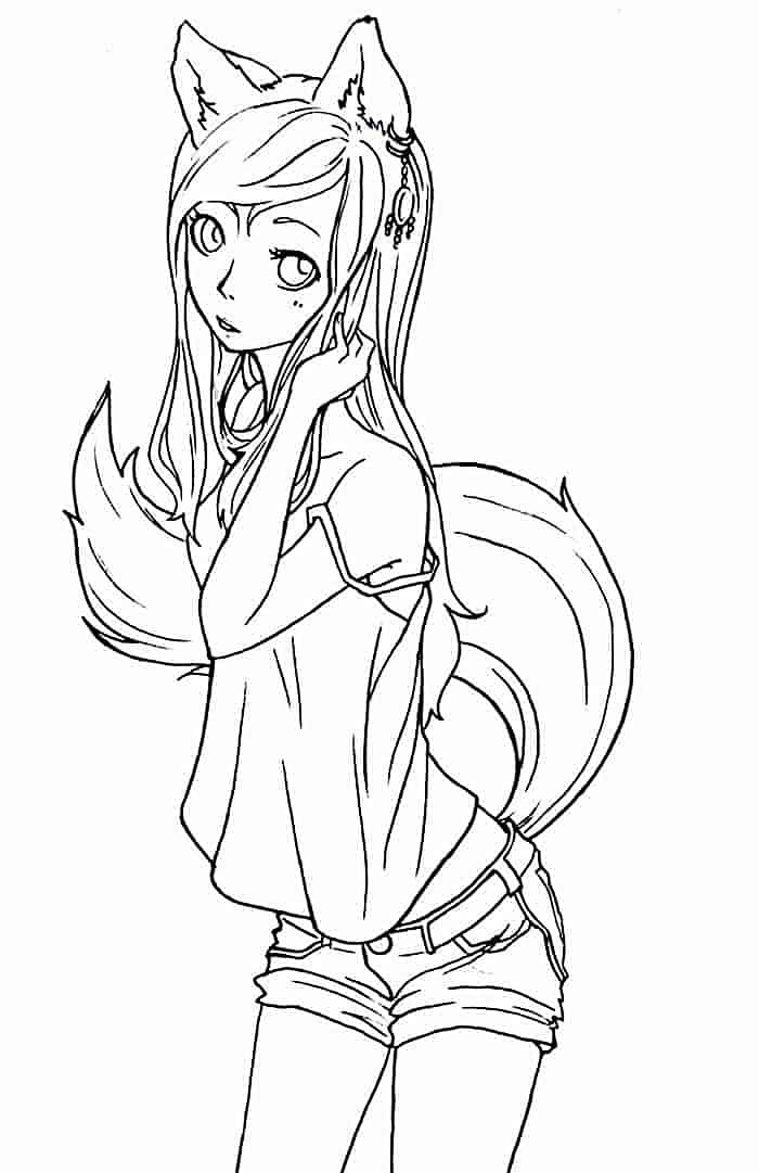 Wolf Anime Coloring Pages : anime, coloring, pages, Coloring, Pages