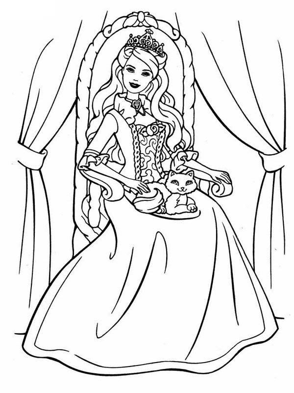 Princess Cat Coloring Page Coloring Home