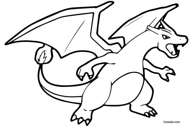 Printable Pokemon Coloring Pages Mega Charizard X - Funsoke