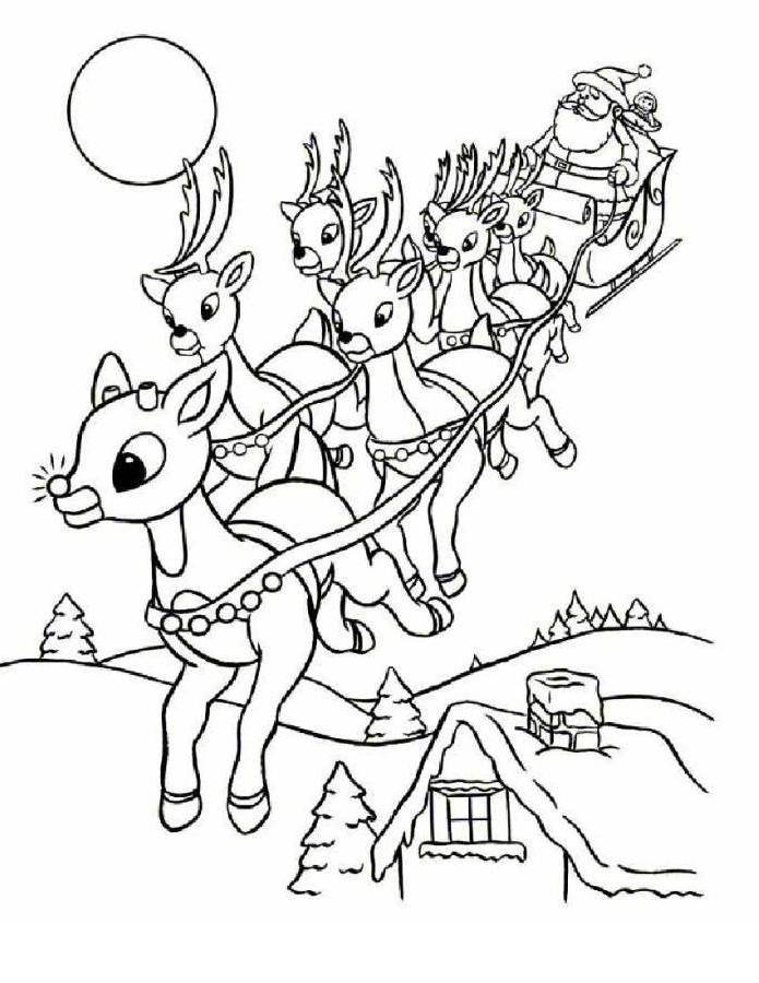 Rudolph Coloring Page : rudolph, coloring, Coloring, Pages, Santa, Rudolph