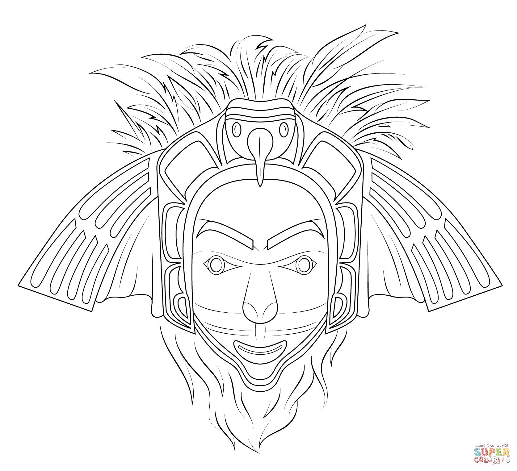 Printable Tiki Mask Coloring Pages