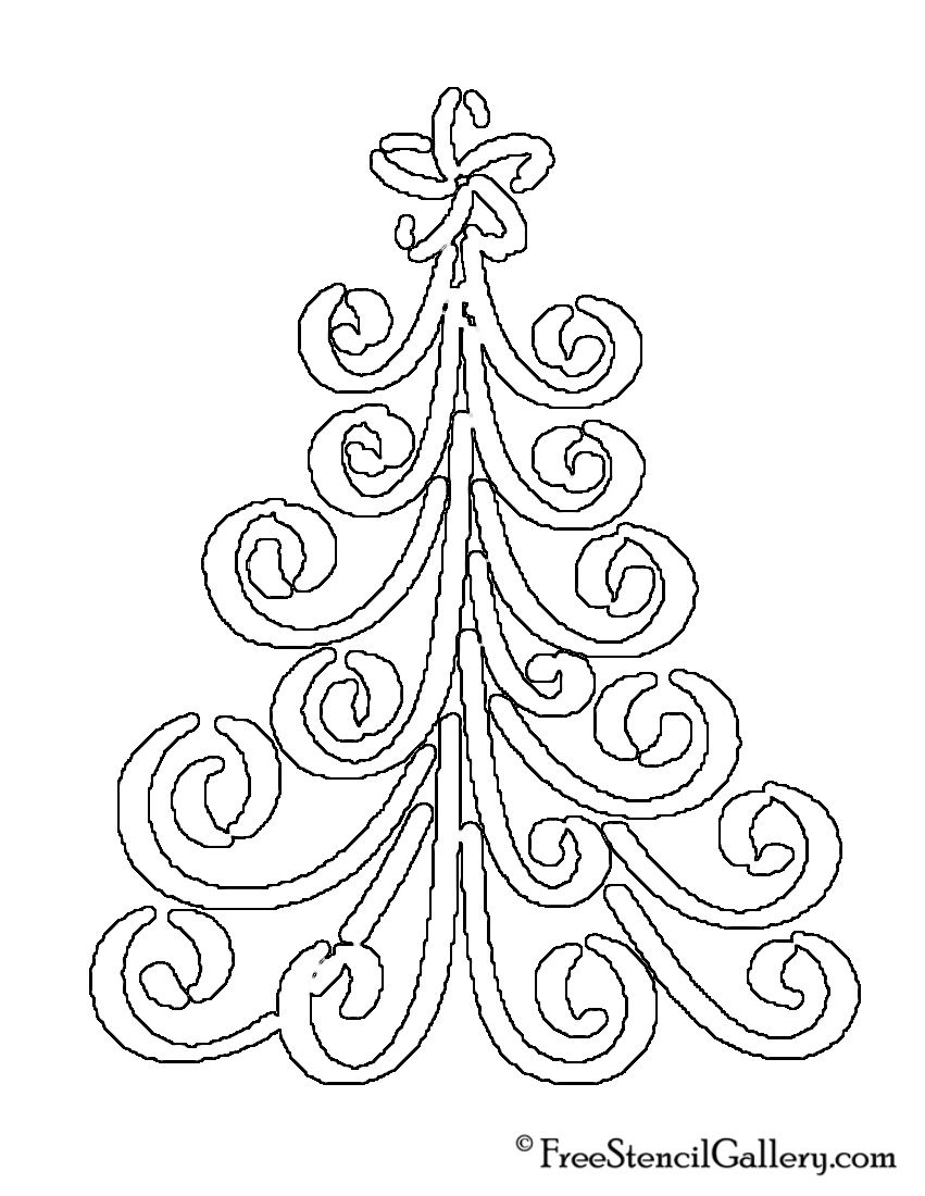 Christmas Tree Stencil Free Coloring Home