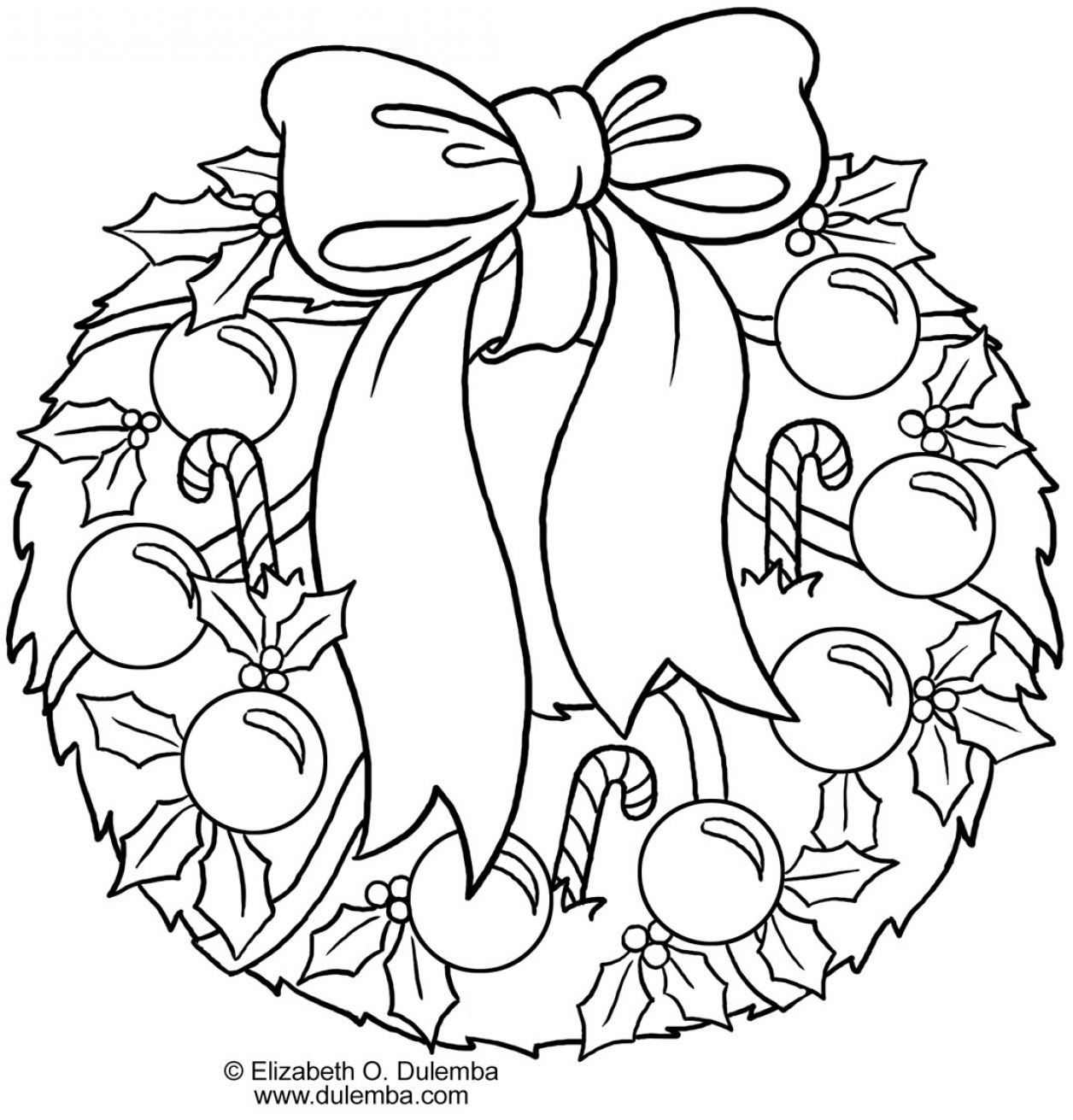 Printable Christmas Holly Coloring Pages
