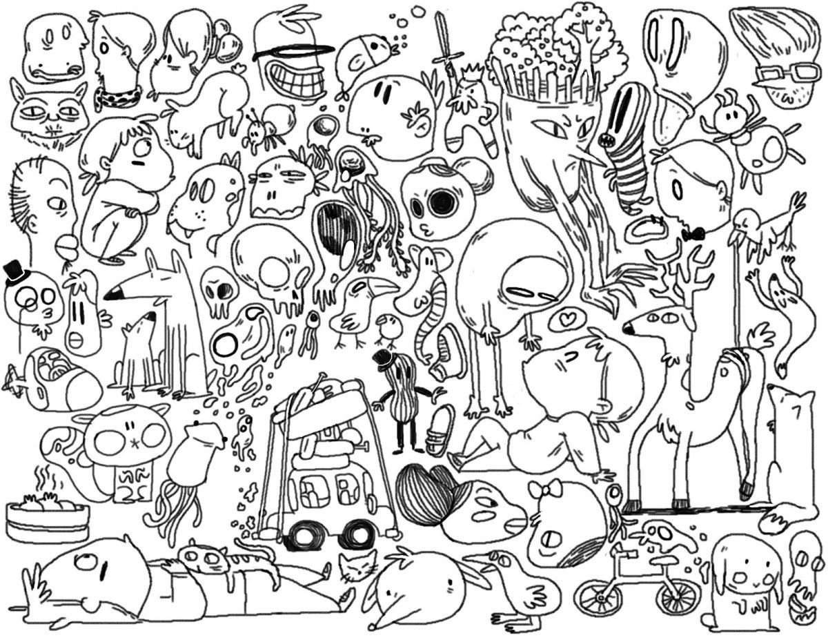 Coloring Pages Printable Doodles Kids