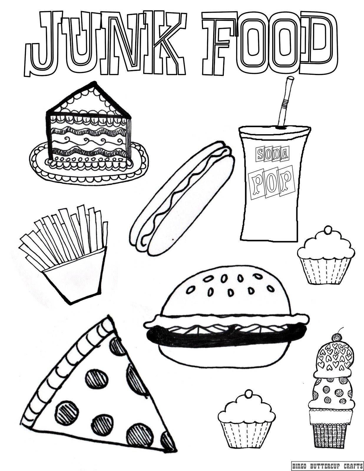 American Junk Food Coloring Pages Cute Thanksgiving Food