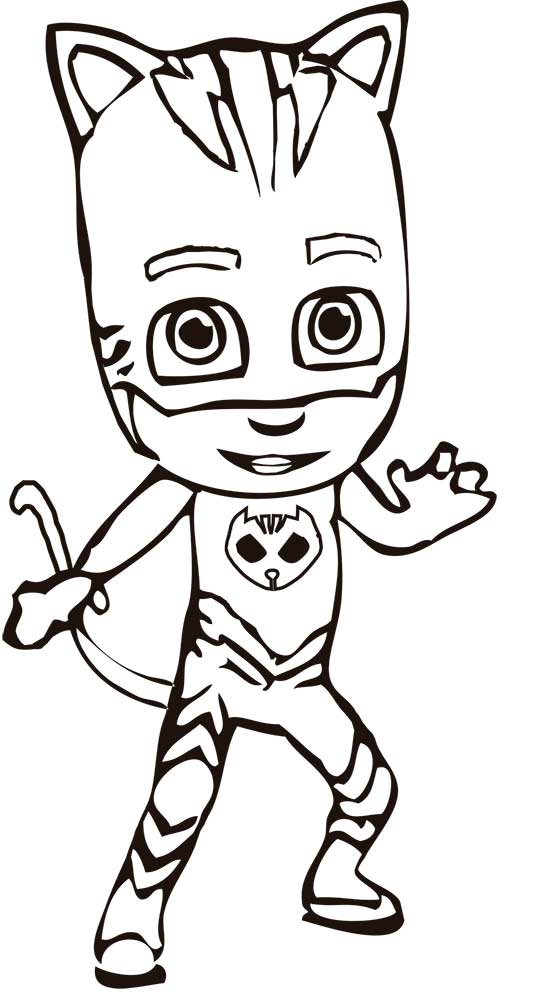 Pj Masks Black And White : masks, black, white, Masks, Coloring, Pages