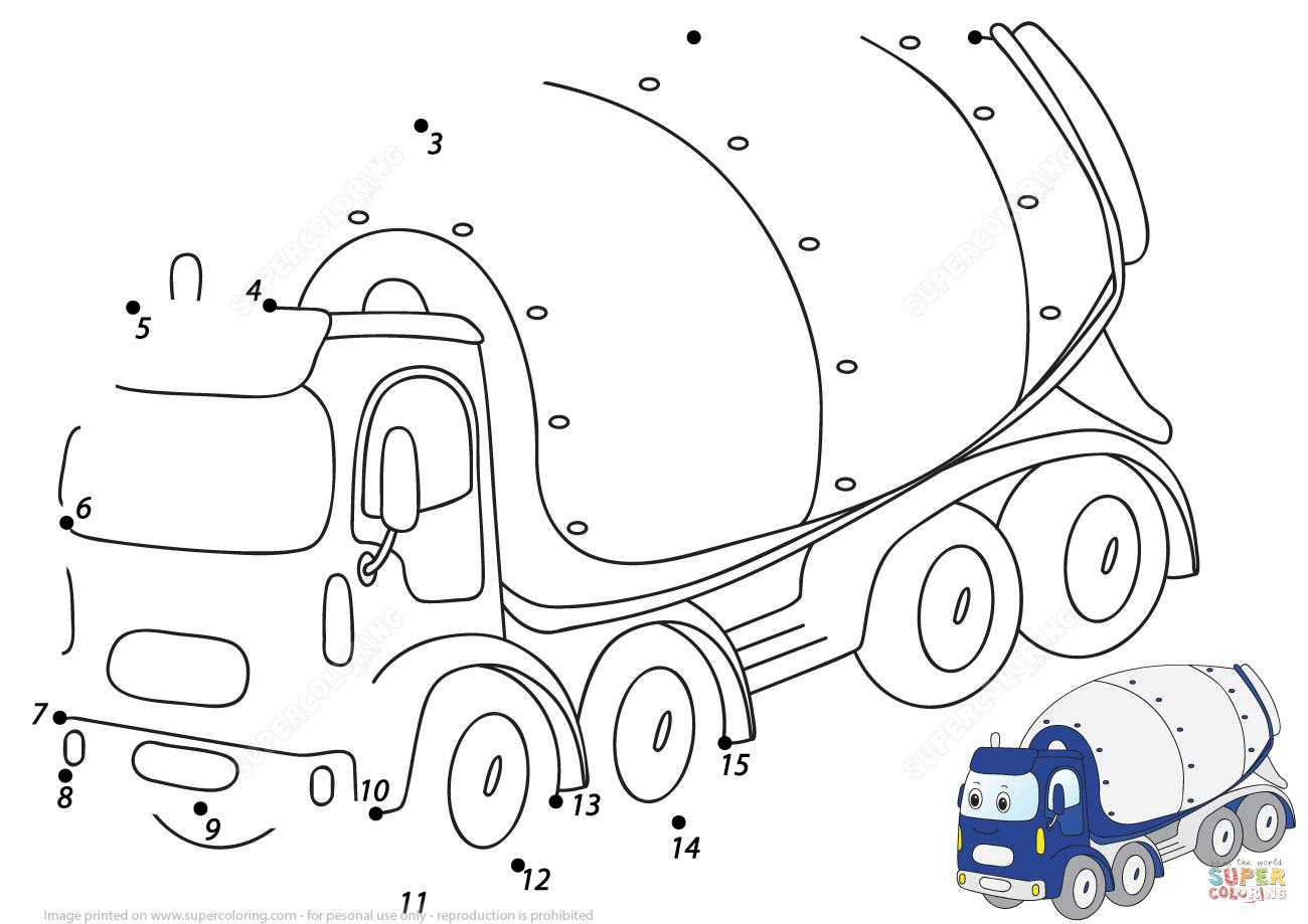 Cartoon Cement Mixer 1 15 Dot To Dot