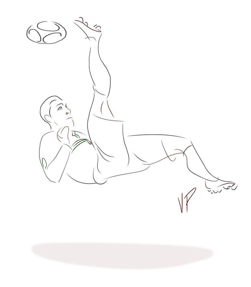 Cristiano Ronaldo Bicycle Kick Drawing Sketch Coloring