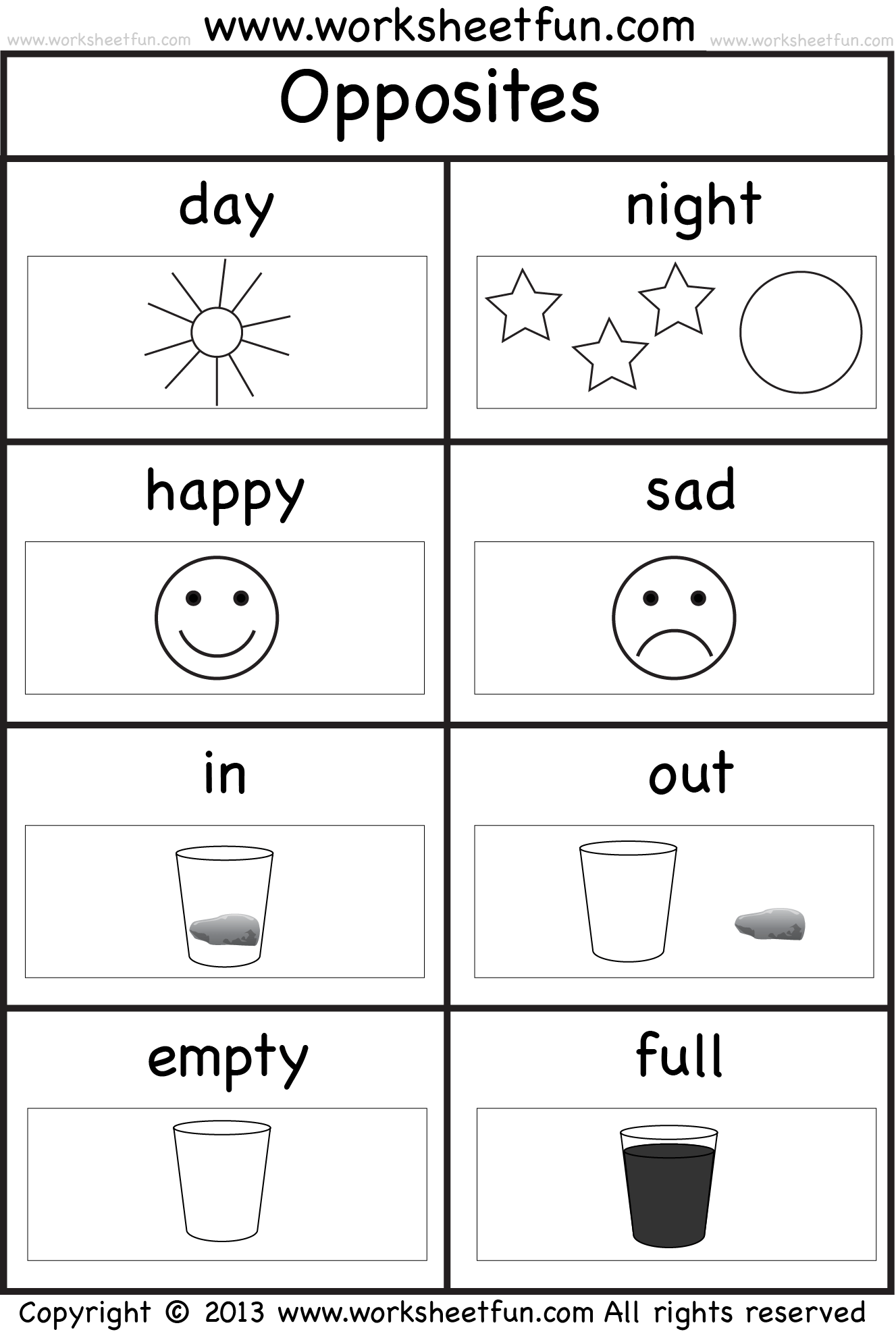 Opposites Coloring Pages Printable
