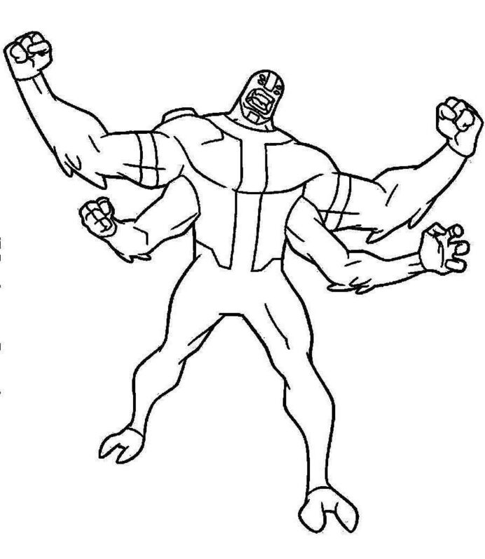 Free Ben Coloring Four Arms Printable Coluring Sheet To