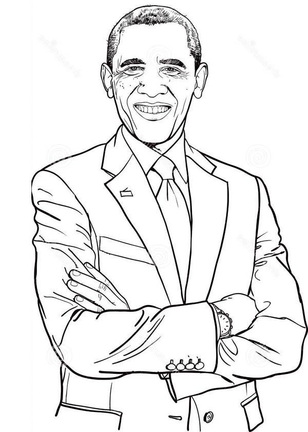 barack obama coloring page # 4