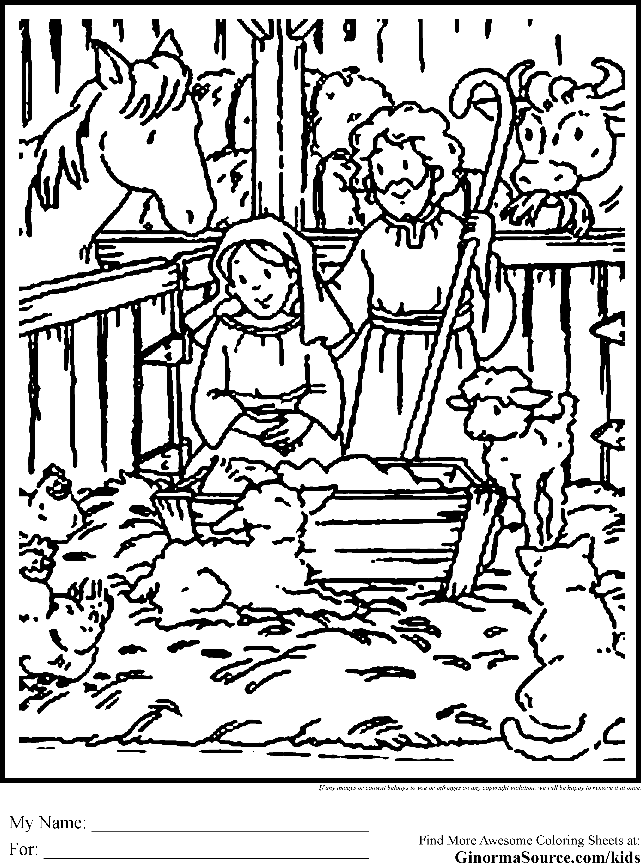 The Christmas Story In Coloring Pages For Preschool