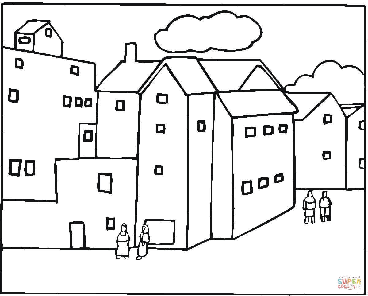 Neighborhood In A City Coloring Page