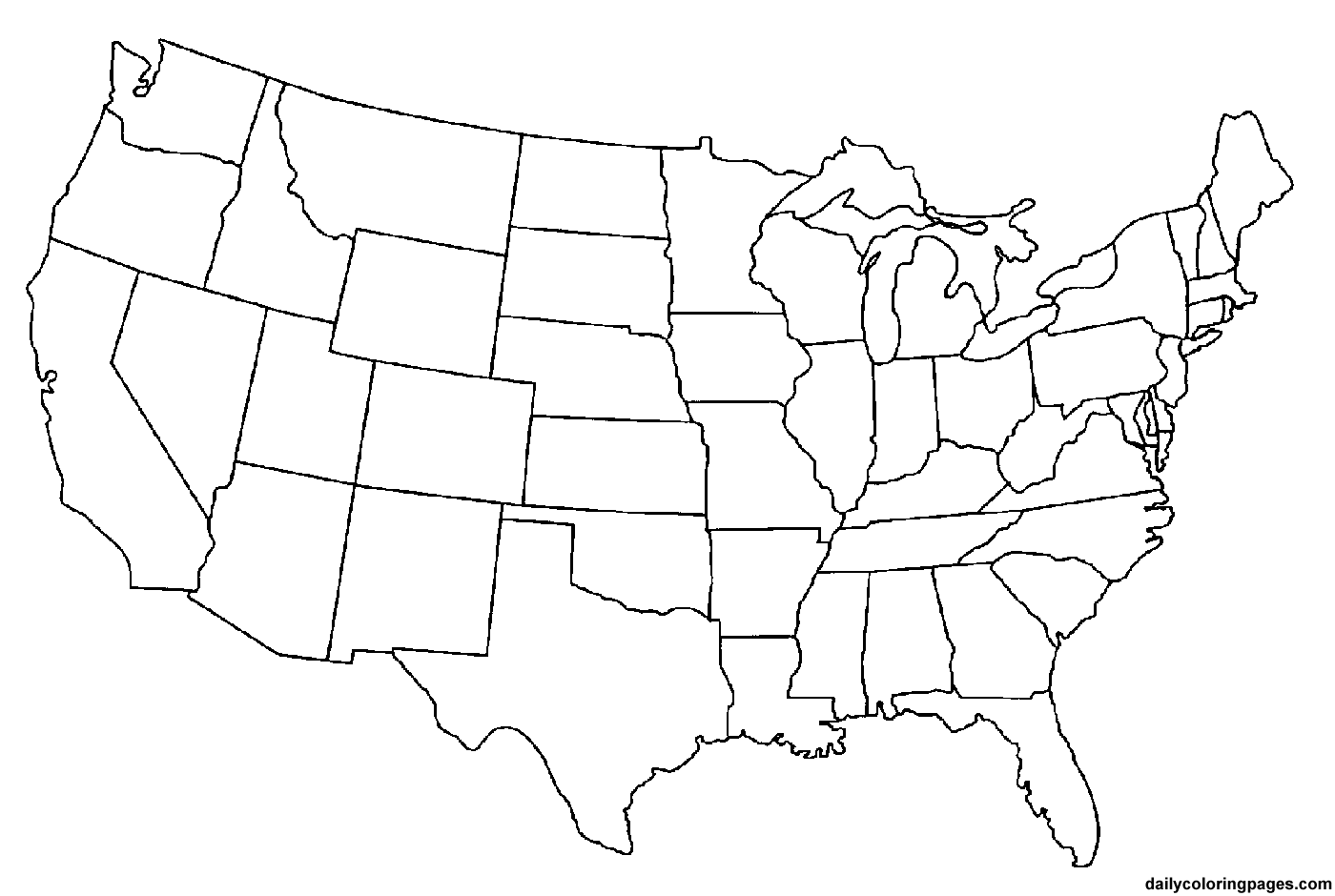 Coloring Page Map Of Usa Coloring Home