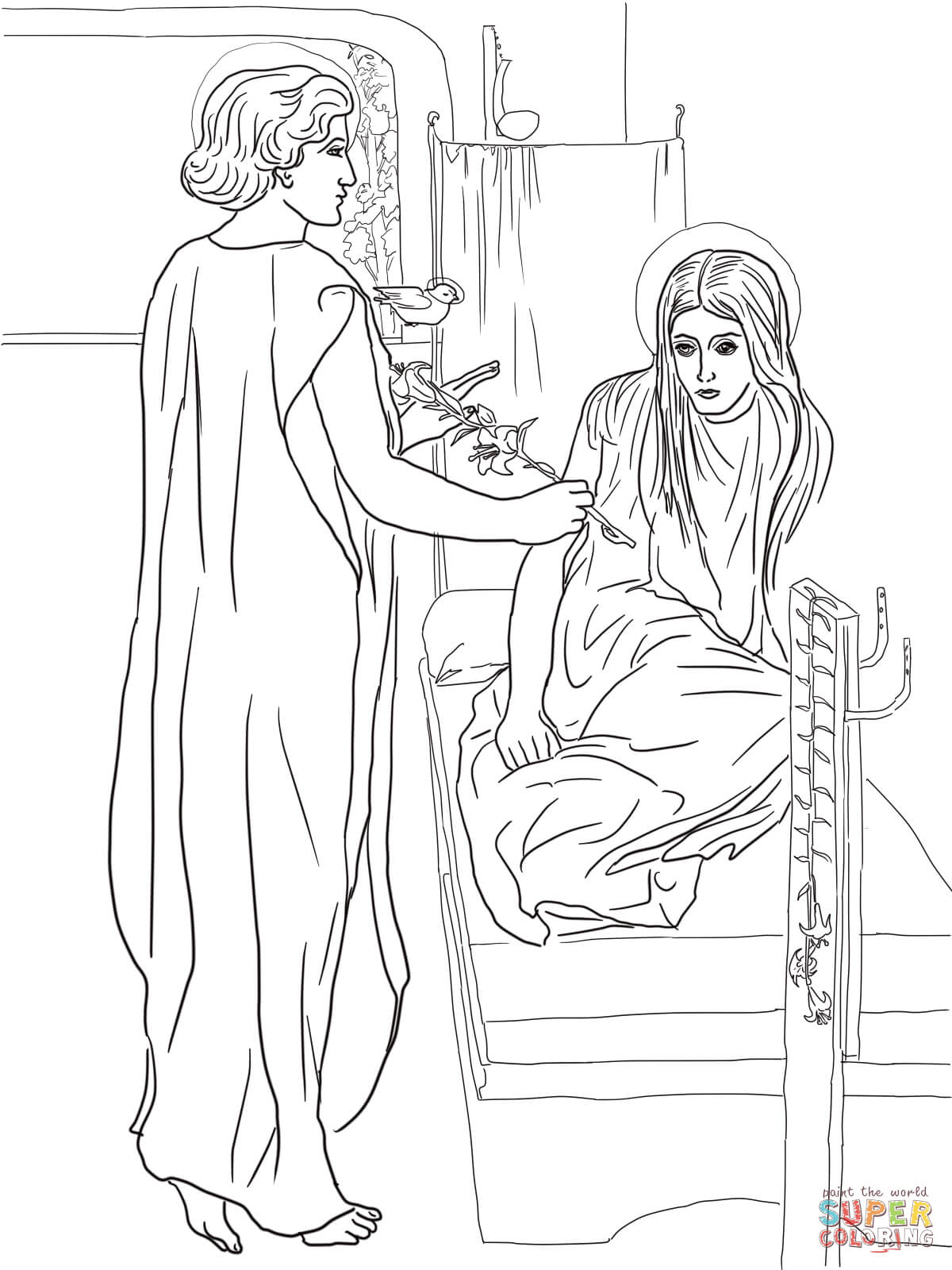 Christmas Mary Angel Coloring Page Beautiful Angel Coloring Page