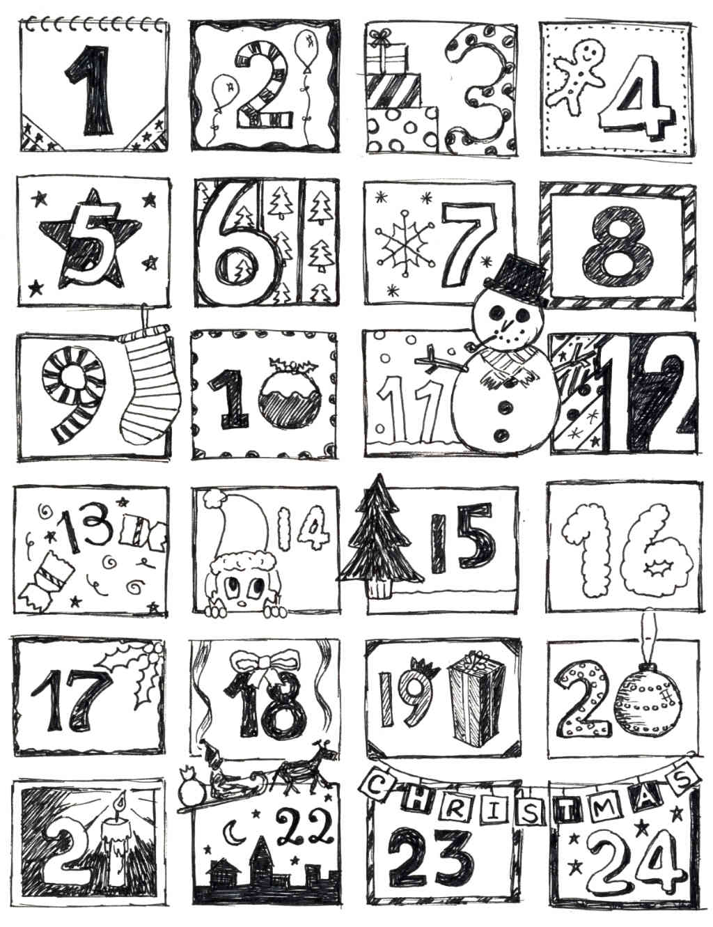 Coloring Pages Advent Calendar