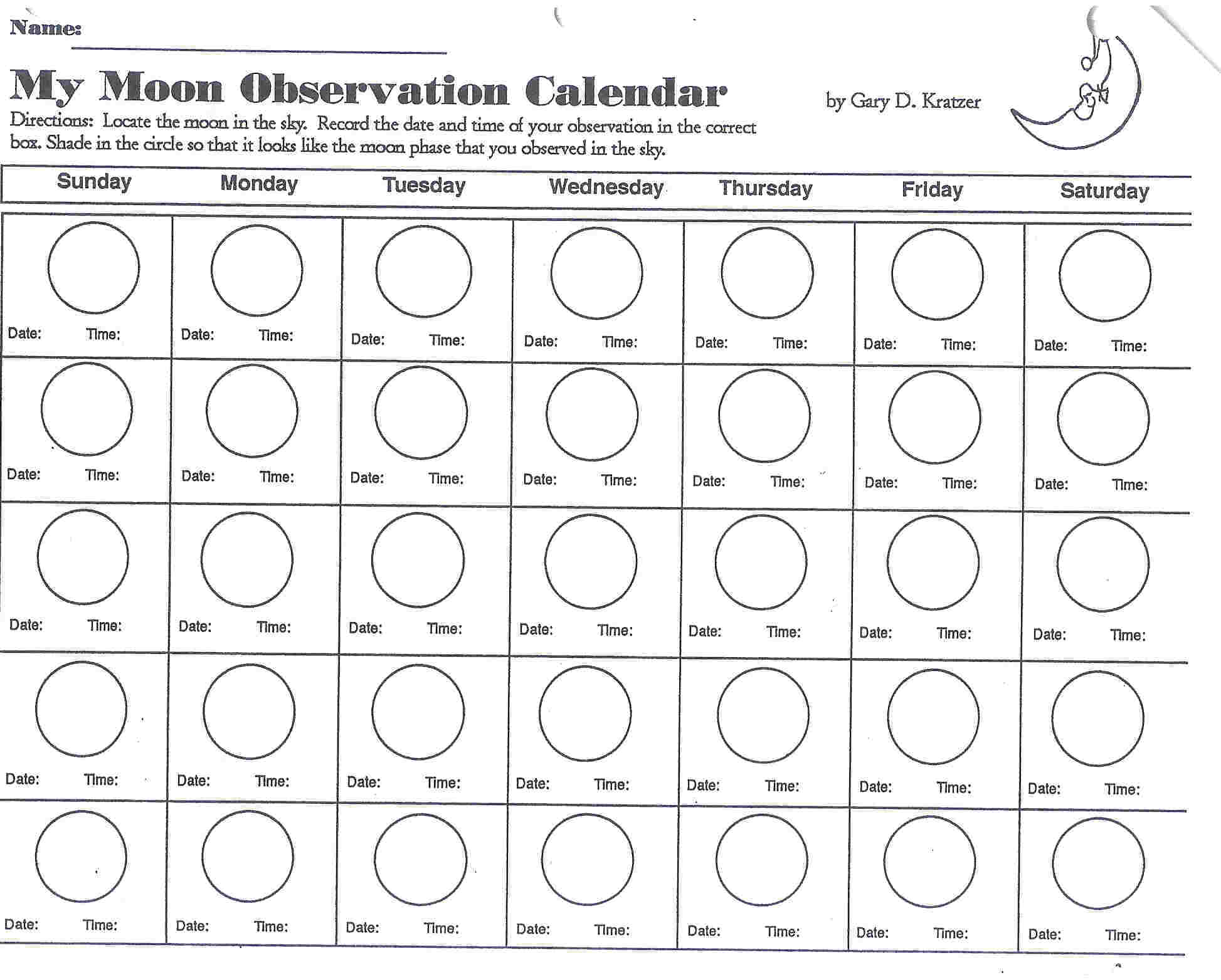 Phases Moon Coloring Page