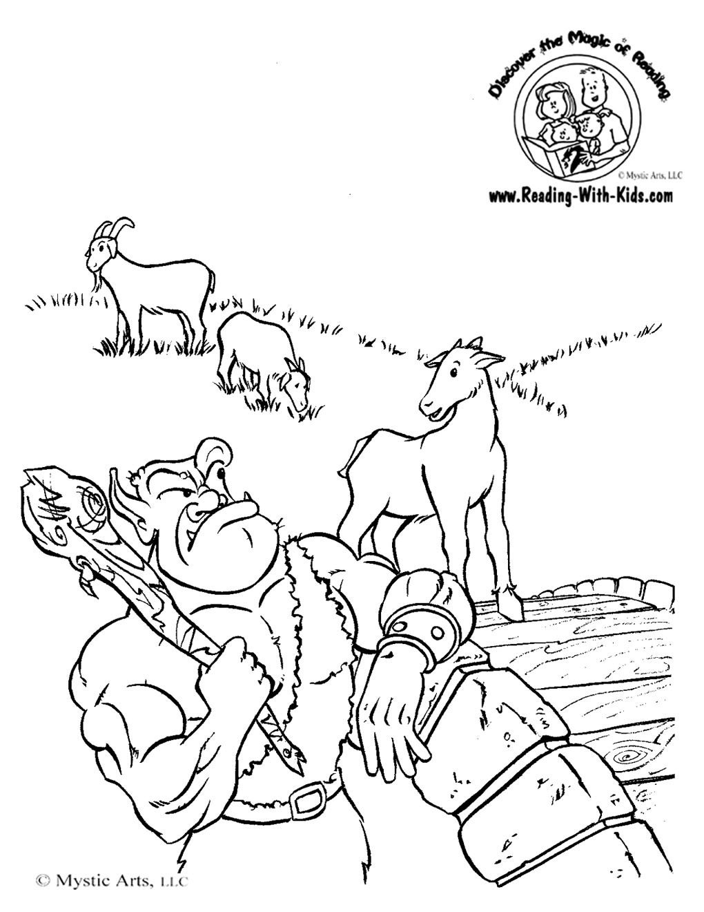 Three Billy Goats Gruff Fairy Tale Coloring Page