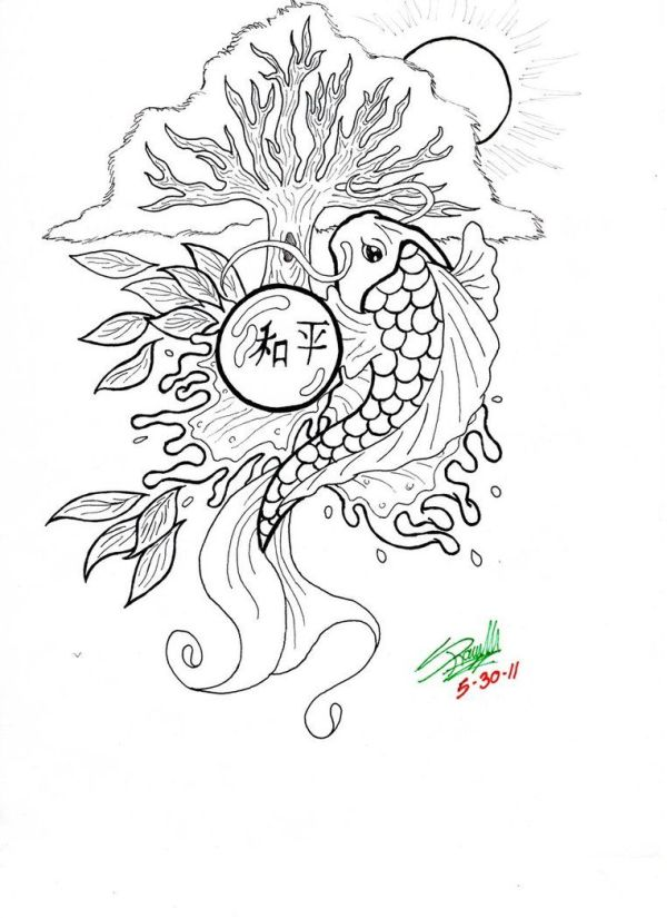 koi fish coloring pages # 10