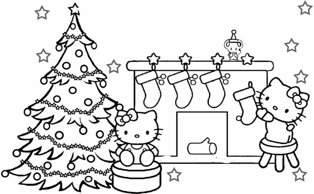 Hello Kitty Happy Merry Christmas Coloring Pages Free Kids