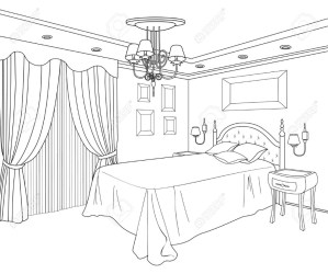 coloring pages bedroom interior drawing room bed furniture printable sketch colour drawings adult clip perspective living template children building clipart