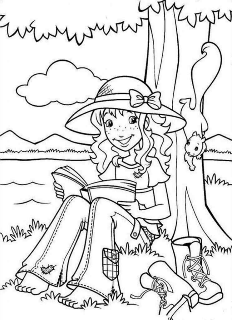 Cartoon: Easy Holly Hobbie Reading Under Tree Coloring