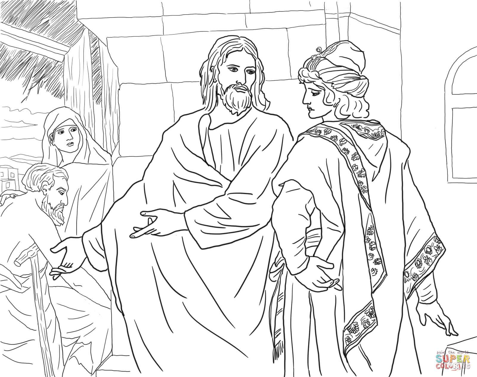 Jesus Raises Lazarus Coloring Page