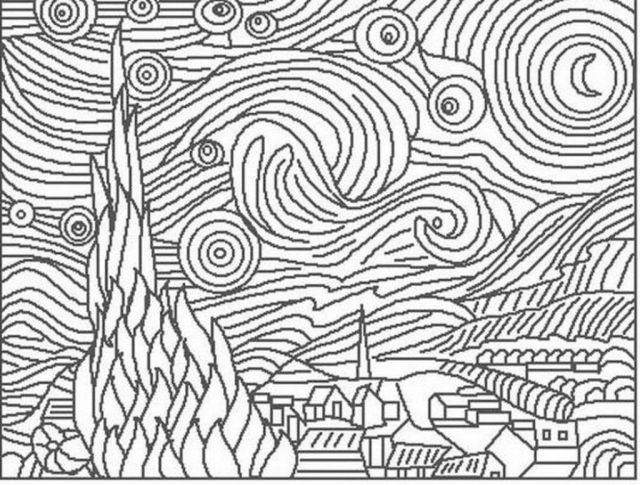 Easy Pointillism Drawings: Van Gogh Starry Night Coloring Page, Of