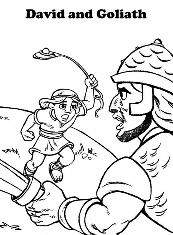 David And Goliath Story In 1 Samuel 17 Coloring Page