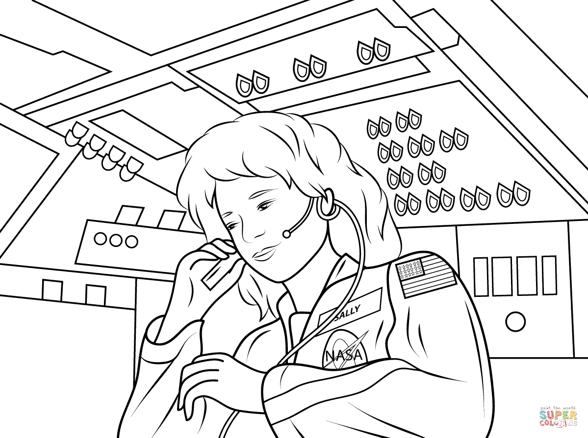 Astronaut Outer Space Coloring Page