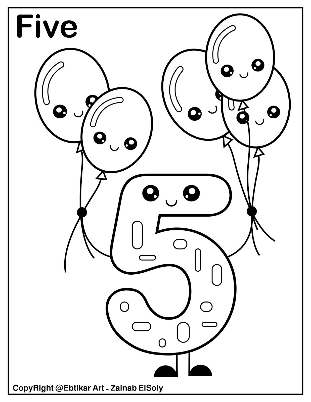Coloring Pages Set Of Kawaii Coloring Cute Number Five