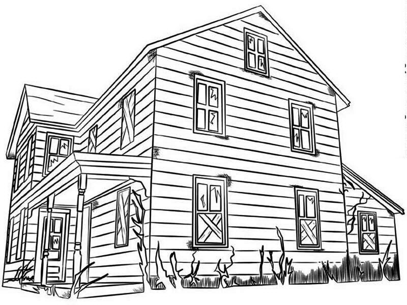 House Made From Wood In Houses Coloring Page: House Made