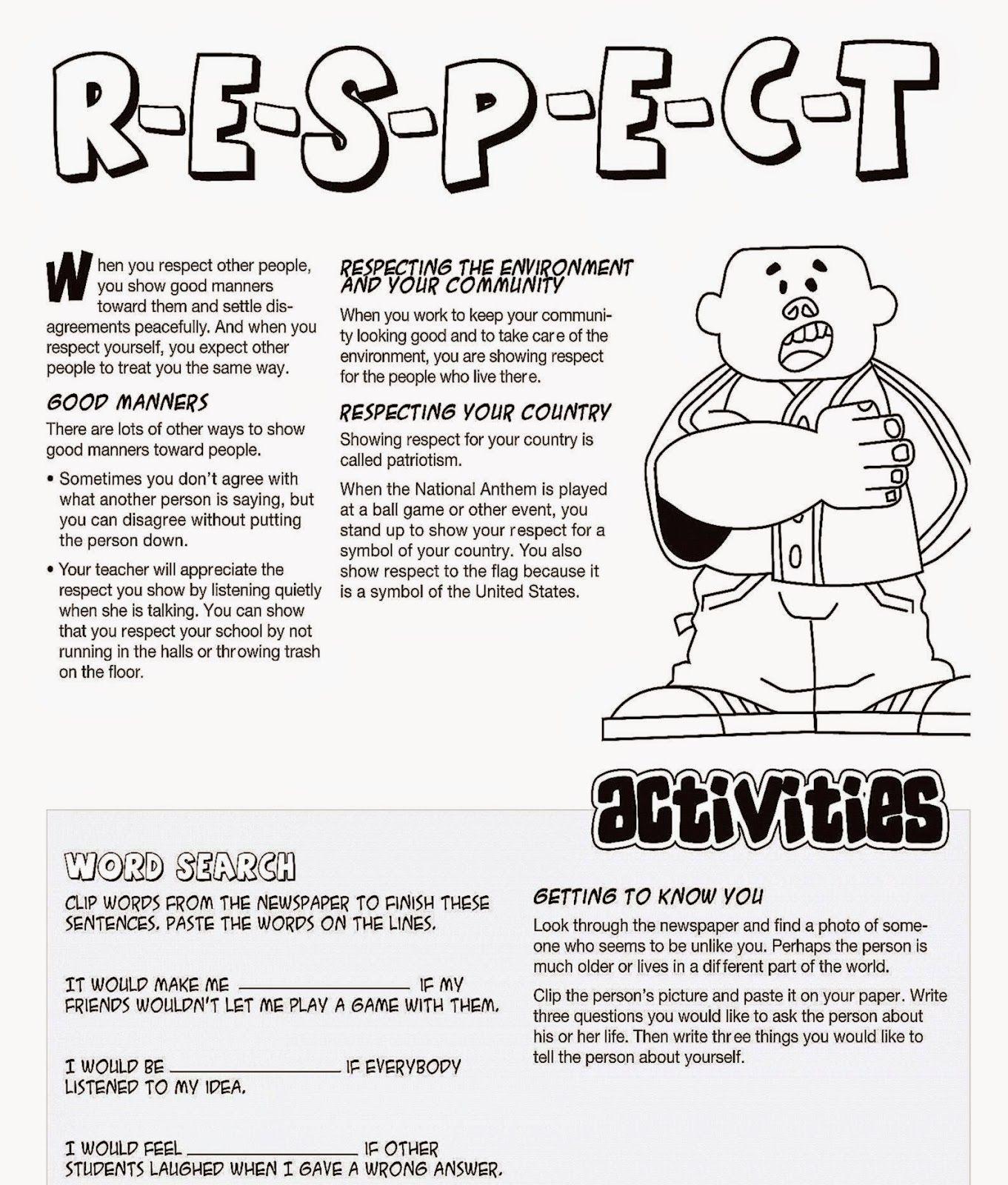 Respect Coloring Sheets Free Coloring Sheet